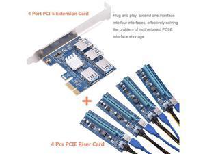 ETopSell USB 3.0 Quad Port PCI-E Express Extender PCIe USB RISER  6-Pin PCI-E 16x to 1x Powered Riser Adapter Card w/ 60cm  USB 3.0 Extension Cable & 6-Pin PCI-E to SATA Version 009S Riser Led Light