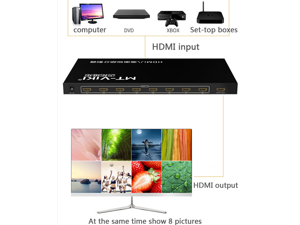 Full HD HDMI eight-screen video audio splitter 8 in 1 out HDMI switch screen splitter support Panel button and IR switch MT-SW081 multimedia screen splitter
