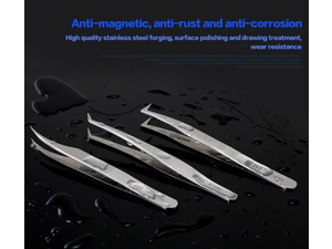 Tweezers Thicken Stainless Steel Anti-Static Electronic Pointed Tip Straight Curve Bend Tweezer Forceps Anti-magnetic,anti-rUSAt, anti-corrosion