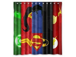 """Custom Justice league Waterproof Shower Curtain High Quality Bathroom Curtain With Hooks 66""""(W)*72""""(H)"""