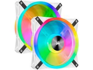 CORSAIR QL Series, iCUE QL140 RGB, 140mm RGB LED PWM White Fan, Dual Fan Kit with Lighting Node CORE - CO-9050106-WW