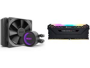 NZXT Kraken M22 120mm - RL-KRM22-01 - AIO RGB CPU Liquid Cooler & Corsair Vengeance RGB PRO 16GB (2x8GB) DDR4 3200MHz C16 LED Desktop Memory - Black