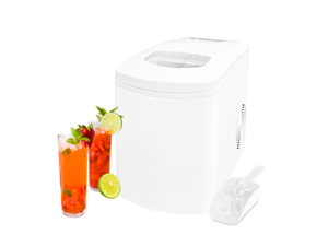 White Countertop Portable Compact Ice Maker Ice Cube Machine, for Home Office Party, Boat RV