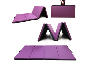 Angel 4-Panel PU Leather Folding Gym Mat with Handle for Fitness Exercise Aerobics Tumbling Stretching Yoga Cheerleading Martial Arts