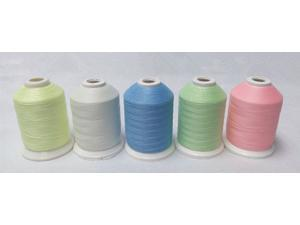 NEW ARRIVAL glow in the dark embroidery thread 1000m X 5 assorted colors each set