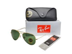 Ray Ban RB3025 Aviator Flash Lenses Sunglasses - Gold Frame/Blue Lenses