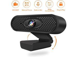 HD Web Cams with Mic for PC Computer and Laptops Supports Mac Windows Linux Chrome OS for Live Streaming Video Chat Webcam - Black