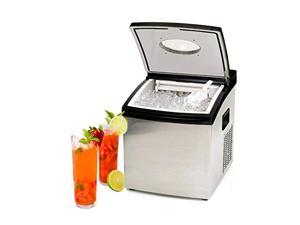 Crystal-clear Commercial Quality Solid Ice Maker, Countertop Stainless Steel Ice Cube Machine, Adjustable Ice Size, Including Scoop and Water Supply Kit