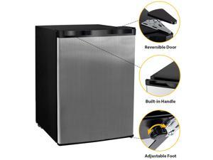 Stainless Steel Front 2.1 cu.ft. Compact Upright Freezer with Adjustable Temperature Control, for Home Apartment Office Garage