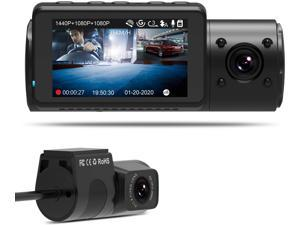 Vantrue N4 Dual Dash Cam 3 Channel 1440P Front & 1080P Inside & 1080P Rear Triple Dash Camera with Infrared Night Vision, Super Capacitor, 24 Hours Parking Mode, Motion Detection, Support 256GB Max