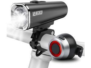 USB Rechargeable Bike Headlight Bicycle Taillight Light kit, 500 Lumens Powerful Brighter LED Bike Lights, Universal Portable & Adjutable, Doubles as Flashlight, IPX-5 Waterproof, Safety Flashlight