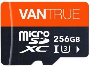 Vantrue 256GB MicroSDXC UHS-I U3 V30 Class 10 4K UHD Video High Speed Transfer Monitoring SD Card with Adapter for Dash Cams, Body Cams, Action Camera, Surveillance & Security Cams