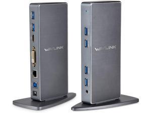 WAVLINK Dual Video Output USB 3.0 Universal Docking Station UG39DK7 (6x USB-A, 1x DVI or VGA (through converter), 1x HDMI, 1x 4-Pole Phone Jack Port, 1x USB-B, 1x RJ45)