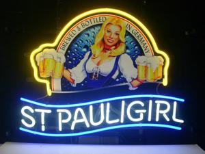 Fashion Neon Sign St. Pauli Girl Real Glass Handcrafted Real Glass Lamp Neon Light Neon Sign Beerbar Sign Neon Beer Sign 19x15