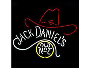 Fashion Neon Sign Jack Daniel's Old No.7 Cowboys Hat Handcrafted Real Glass Lamp Neon Light Neon Sign Beerbar Sign Neon Beer Sign 17x13