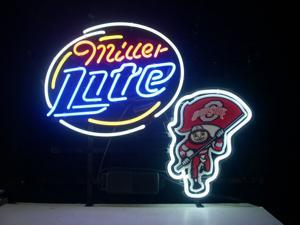 Fashion Neon Sign MILLER BRUTUS OHIO STATE BUCKEYES Handcrafted Real Glass Lamp Neon Light Neon Sign Beerbar Sign Neon Beer Sign 19x15