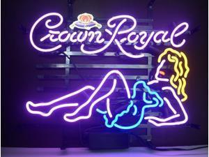Fashion Neon New Purple Crown Royal Girl Real Glass Neon Light Sign Beer Bar Pub Sign 19x15!!!