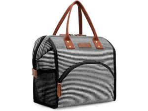 Hisen Waterproof Cooling Insulated Lunch Bag-Black (Bstrip)