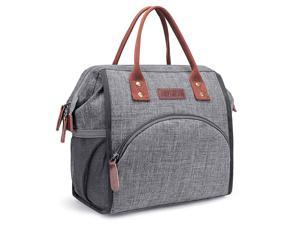 Hisen Waterproof Cooling Insulated Lunch Bag-Black (Grey)…