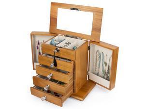 Large Real Natural Hardwood Wooden Jewelry Box Locked w/ a Key (2-ZH-WJC5AK)