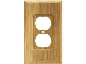 brainerd 64665 wood square single duplex outlet wall plate / switch plate / cover, medium oak