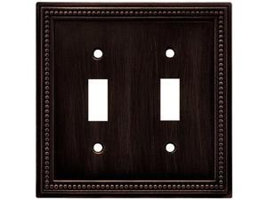 brainerd 64409 beaded double toggle switch wall plate / switch plate / cover, venetian bronze