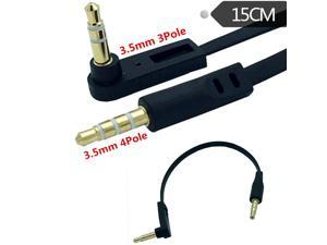 DC 3.5mm  4 Pole 90 Male to Angled 3pole 2ring Male Audio flat Cable  0.15m