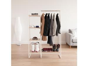 IRIS Metal Garment Rack with Wood Shelves, White and Light Brown