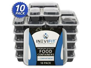 INEVIFIT Meal Prep 3 Compartment BPA FREE, Premium Food Storage Containers, Durable & Reusable, 36 oz. Stackable 10 Pack, Microwaveable & Dishwasher Safe, Leak Resistant Bento Lunch Box