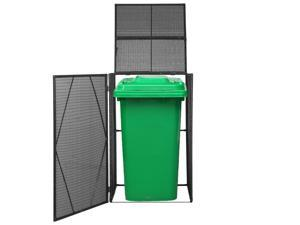 "vidaXL Single Wheelie Bin Shed Poly Rattan 47.2"" Black Trash Garbage Box Cover"