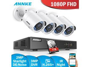 ANNKE CCTV Camera System 8 Channel 3MP 5-in-1 H.265+ DVR and 4×1080P Starlight DE-Noise HD Weatherproof Cameras Email Alert with Snapshots, Remote Access with 1TB HDD