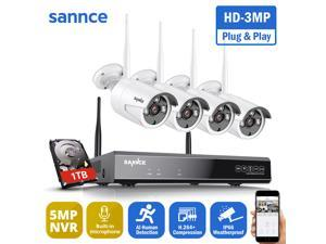 SANNCE 5MP HD Wireless NVR Security Camera System with 3MP WiFi Cameras + Smart Motion Alerts Built-in Microphone AI Human Detection 4 Camera - with 1TB Hard Drive