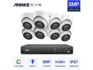ANNKE 5MP PoE Turret Security Camera System with NO HDD