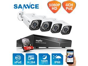 SANNCE 1TB Hard Drive 4CH 1080P PoE NVR HD Security Camera System with 4xHD 2.0 MP Weatherproof Bullet IP Cameras, Quick QR Code Smartphone Access, HDMI Output, USB Backup