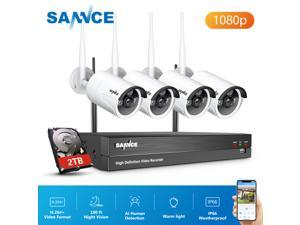 SANNCE 8 Channel WiFi IP Security Camera System with 4 pcs 1080p Outdoor Wireless CCTV Surveillance Cameras for Remote Access Home Business AI Human Detection with 2TB