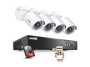 ANNKE 8 Channel Security Camera Outdoor system 3MP 1920x1536p 5-in-1 DVR Video Recorder with 1TB HDD and (4) 1080P Weatherproof Indoor&Outdoor Cameras