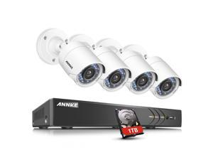 ANNKE 4 Channel Security Camera Outdoor system 3MP 1920x1536p 5-in-1 DVR Video Recorder with 1TB HDD and (4) 1080P Weatherproof Indoor&Outdoor Cameras