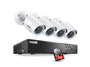 ANNKE 8CH True 3.0MP HD TVI DVR Camera Surveillance System with 4x 1080P Weatherproof 3.6mm Lens 66FT 20m Night, Support Smartphone Scan QR Code Quick Remote AccessOne 2TB HDD
