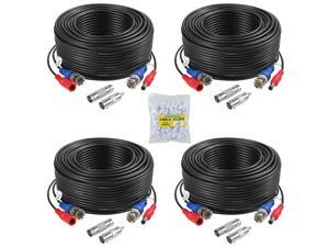 160Ft Security Camera Cable CCTV Video Power Wire BNC RCA Black Cord DVR