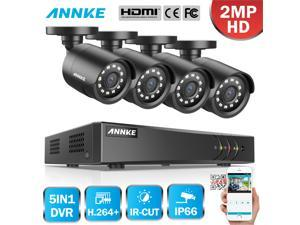 ANNKE 8CH Security Camera System HD-TVI 1080P Lite H.264+ DVR with 4×1080P HD Indoor/Outdoor Weatherproof CCTV Cameras, Motion Alert, Remote Access