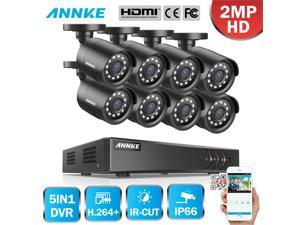 ANNKE 8CH Security Camera System HD-TVI 1080P Lite H.264+ DVR with 8×1080P HD Indoor/Outdoor Weatherproof CCTV Cameras, Motion Alert, Remote Access