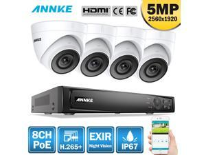 ANNKE 5MP Super HD PoE Network Video Security System, 8CH 4K Surveillance NVR with H.265+ Video Compression, 5MP HD Weatherproof Cameras with EXIR LEDs, APP Push Alert, Remote Access