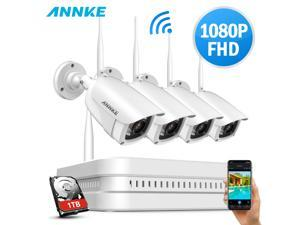 ANNKE 8CH 1080P Full HD Wireless NVR Video Surveillance System, Plug and Play System, H.264+ Video Compression, 4×1080P Indoor Outdoor Bullet IP Cameras with 1TB HDD
