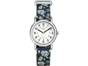 Timex Women's Weekender | Floral Strap Silver-Tone Case | Casual Watch T2P370