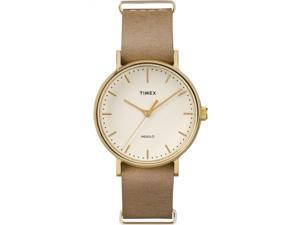 Timex Weekender Fairfield 37mm | Tan Leather Strap Minimal White Dial TW2P98300