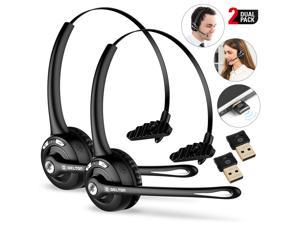 (2 Pack) Delton Trucker Bluetooth Headset With Mini USB Dongle, Wireless Headphones w/Microphone, Headphones for Truck Driver, Wireless Over the Head Earpiece with Mic- 18Hrs Talking