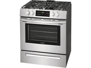 Frigidaire FFGH3051VS 30 Inch Slide-in Gas Range with 4 Sealed, Burners, Self-Cleaning Mode, Storage Drawer, ADA Compliant, Cast Iron Grates in Stainless Steel