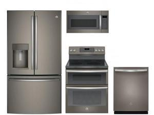 "GE 4 Piece Kitchen PKG JB860EJES 30"" Electric Freestanding Range JVM7195EKES  Microwave Oven GDT655SMJES 24"" Built In Full Console Dishwasher GFE28GMKES 28"" 36"" French Door Refrigerator in Slate"