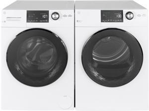 "GE Front load Compact GFW148SSMWW 24"" Washer with GFD14ESSNWW 24"" Electric Dryer Laundry Pair  in White"