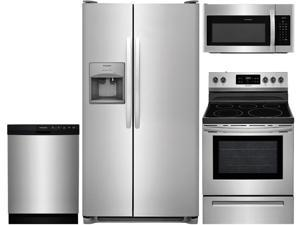 """Frigidaire 4-Piece Stainless Steel Kitchen Package with FFSS2615TS 36"""" Side-by-Side Refrigerator, FFEF3054TS 30"""" Freestanding Electric Range, FFBD2412SS 24"""" Full Console Dishwasher and FFMV1645TS 30"""""""